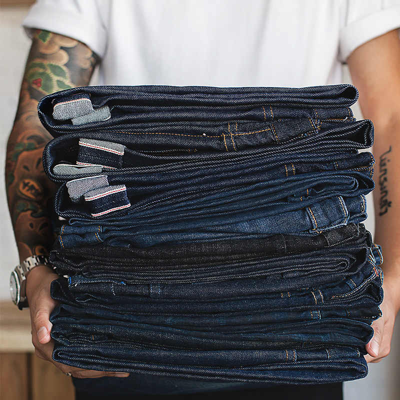 MADEN Gli Uomini di Big & Alto Regular Fit Straight Leg Grezzo Selvedge Denim Dei Jeans Blu Scuro