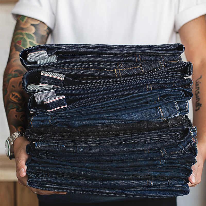 MADEN Gli Uomini di Big & Alto Regular Fit Straight Leg Grezzo Selvedge Denim Dei Jeans Blu Scuro