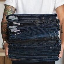 MADEN Vintage männer Denim Jean Große & Hoch Regelmäßige Fit Gerade Bein Raw Kanten Denim Jeans Dark Blue Hose klassische Hosen Trous