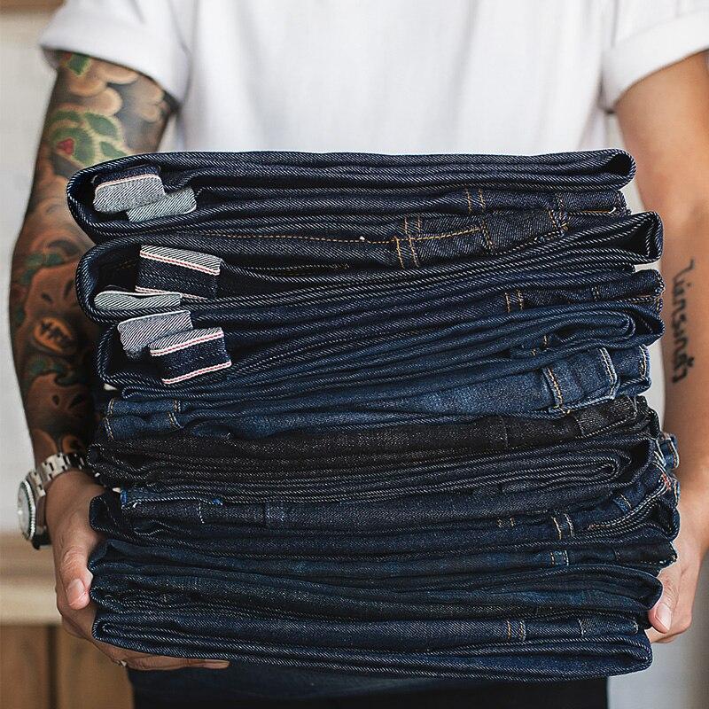 Maden Men's Cotton Retro Indigo Regular   Jeans   Straight Leg Slim Red Original Striped Denim   Jeans   Men