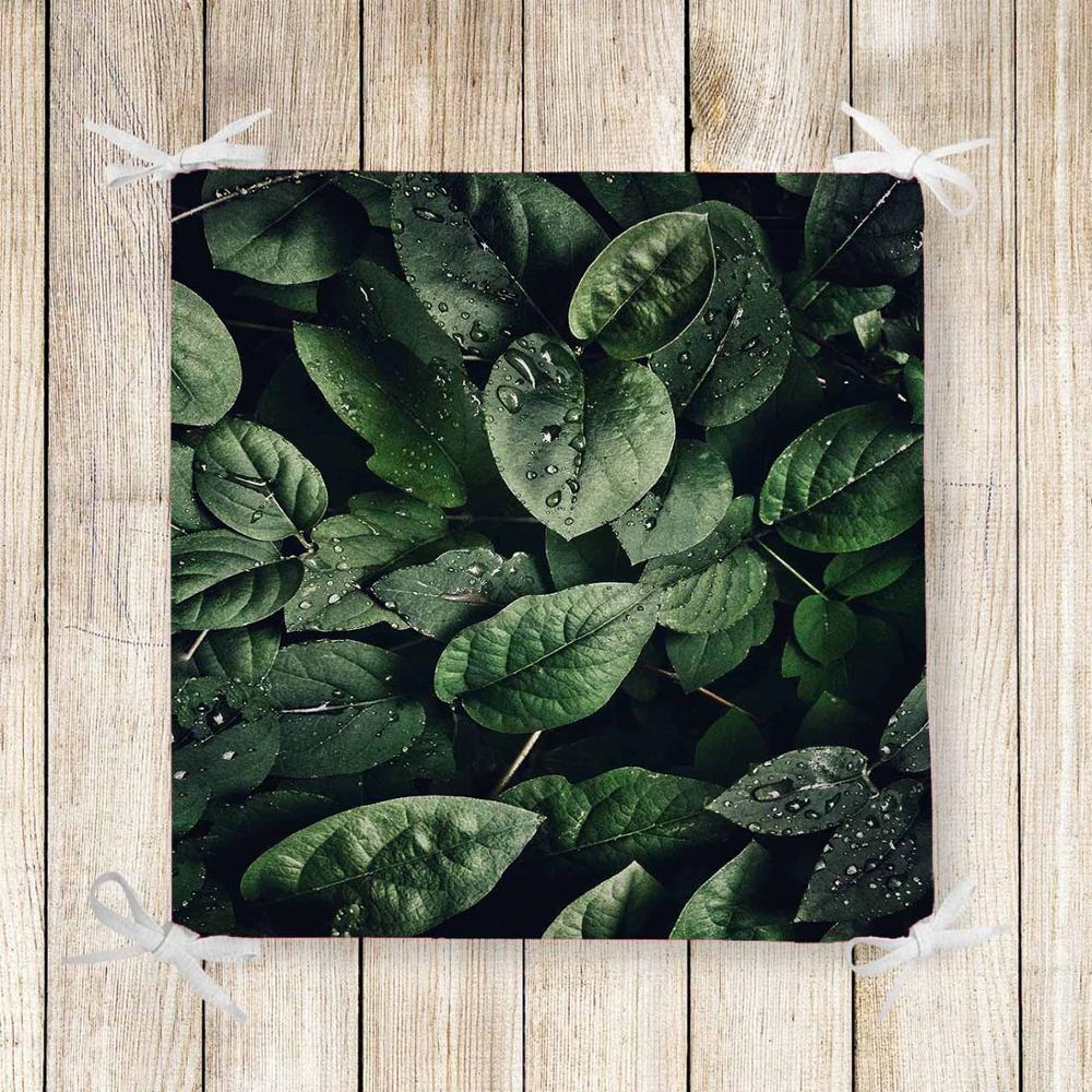 Else Green Black Tropical Jungle Leaf 3d Print Chair Pad Seat Cushion Soft Memory Foam Full Lenght Ties Non Slip Washable Zipper