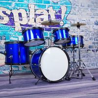 Красный/синий 5 шт. детский Junior JR набор барабанов комплект + барабанная палочка + трон + цимбл стартер для музыкальных ударных инструментов по
