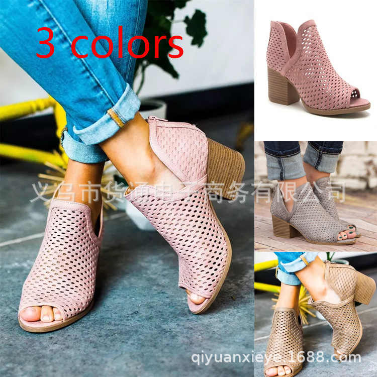 Spring and Summer 2019 Cross-border Large Size European and American Women's Shoes Sandals Fishmouth Hollow High-heeled Sandals