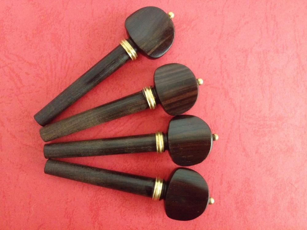 4pcs High Quality 4/4 Violin Pegs Ebony Violin Tuning Pegs Inlaid Copper Violin Parts