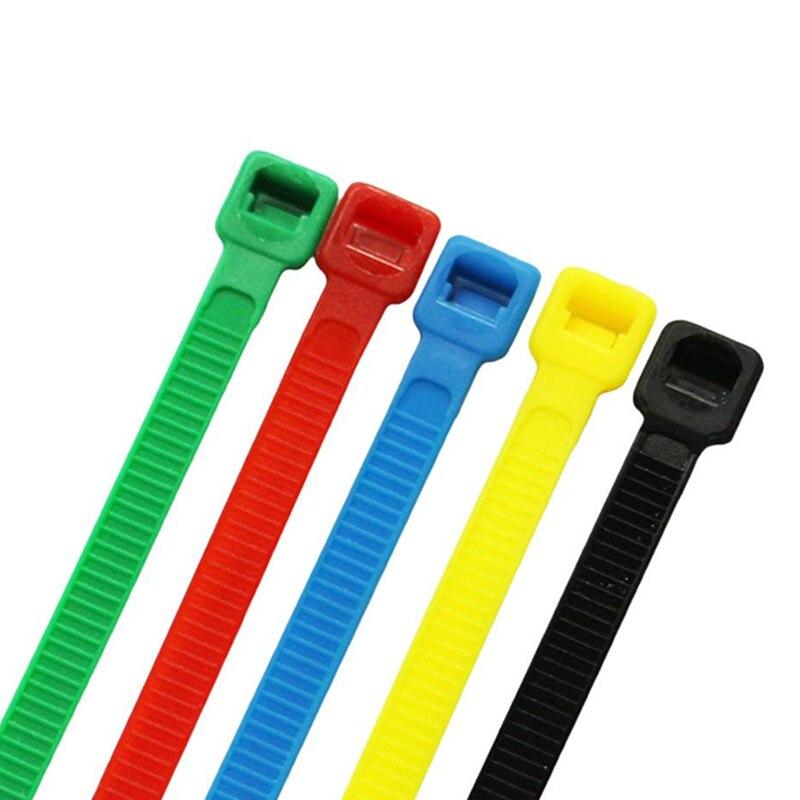 ZHEJIN (100 pcs) 8 Polegada X18lbs Cor Nylon Cable Tie Verde/Vermelho/Amarelo/Azul/Preto/Cor Branca de  200mm bloqueio de plástico Nylon abraçadeiras Zip Wire Wrap apertem Strap auto bloqueio resistente ao fogo