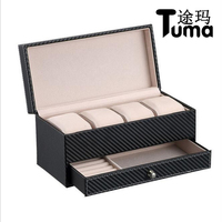 New Style Leather Jewelry Sets Box Watch And Earrings Storage Casket For Your Companion Best Gift