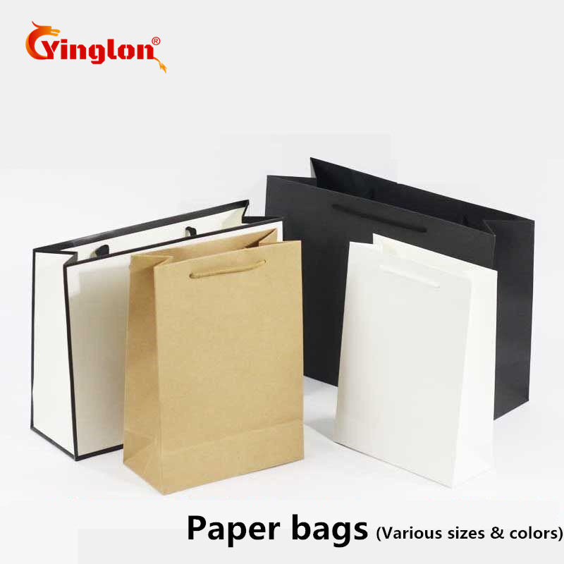 10 Pcs / Lot White Black Kraft Paper Bag Gift Bag With Handles Recyclable Shop Store Packaging Bag Environment Friendly Material
