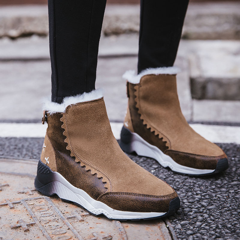 Fashion Casual Snow Boots Lady Cow Suede Leather Women' s Snow Booties Rivet Back Zipper Outdoor Luxury Female Brand Shoes