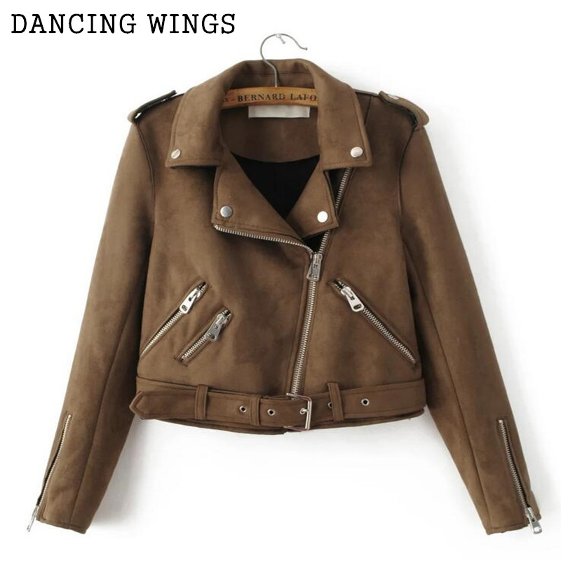 Leather Jacket Women High Quality Suede 2017 Spring Autumn Casual Brown Suede Zipper Motorcycle Jacke Short Jacket For Women