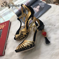SKYYUE Gold Genuine Leather Studded,Heart shaped Diamond High Heels Sandals OpenToe women Shoes Wedding Party Dress Shoes