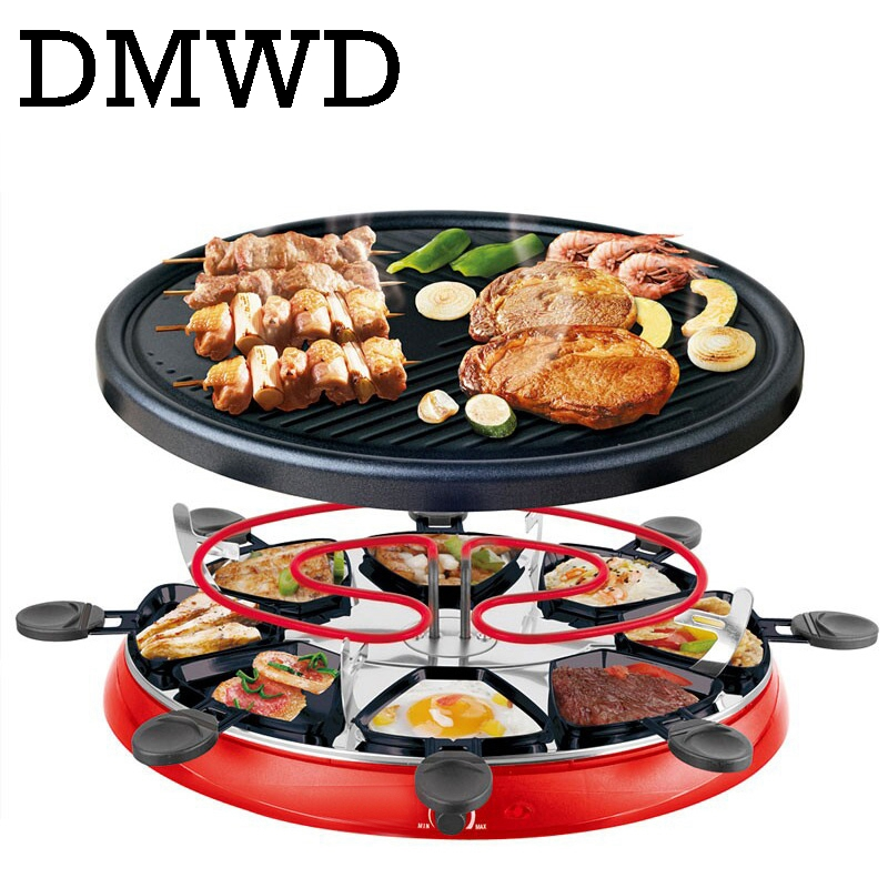 DMWD Double Layers Smokeless Raclette Grilldle baking oven Electric BBQ Grill Heating Stove pan Barbecue Iron non-stick Plate EU factors influencing adoptionm of fuel efficient injera baking stove