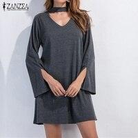 Vestidos 2017 Autumn ZANZEA Women Sexy Mini Dress V Neck Long Sleeve Casual Loose Hollow Out
