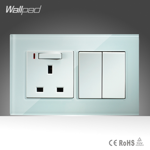 13A UK Switched LED Socket and 2 Gang Wallpad 146*86mm BS CE White Crystal Glass UK Socket and  2 Gang Switch Free Shipping wallpad luxury double 13 a uk switched socket goats brown leather 1 gang switch and 13a wall socket with neon free shipping