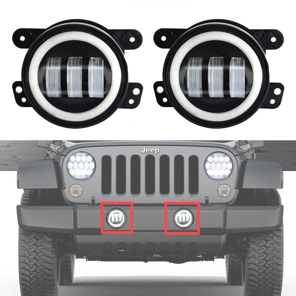 Led Mistlampen Voorbumper Voor Jeep Wrangler-met Wit Halo Rings Angel Eye Leds-4 Inch Wrangler Mistlampen Een Lang Historisch Aanzien Hebben