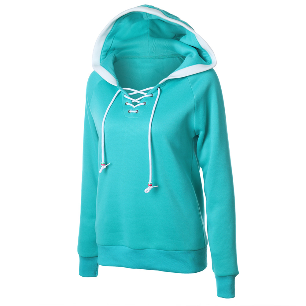 Hoodies Sweatshirts 2017 solid color stitching hat shirt drawstring hooded long-sleeved female