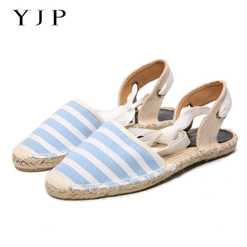 YJP Women Canvas Espadrilles, Black/White/Pink/Sky Blue Striped Flats, Ladies Ankle Strap Hemp Bottom Fisherman Shoes For 2017 цены