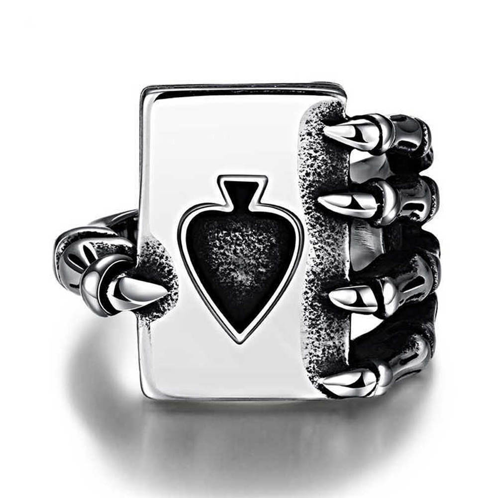 Vintage Playing Card Design Rings For Men Silver Color Tone anillos hombre Titanium Steel Men Gothic Skull Hand Claw Poker ring