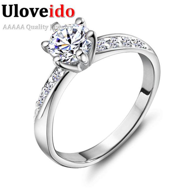 Uloveido Vintage Wedding Silver Rings For Women Fashion Jewelry Anel Crystal Ring Gift Rhinestone Amour Bague Femme Bijoux J048