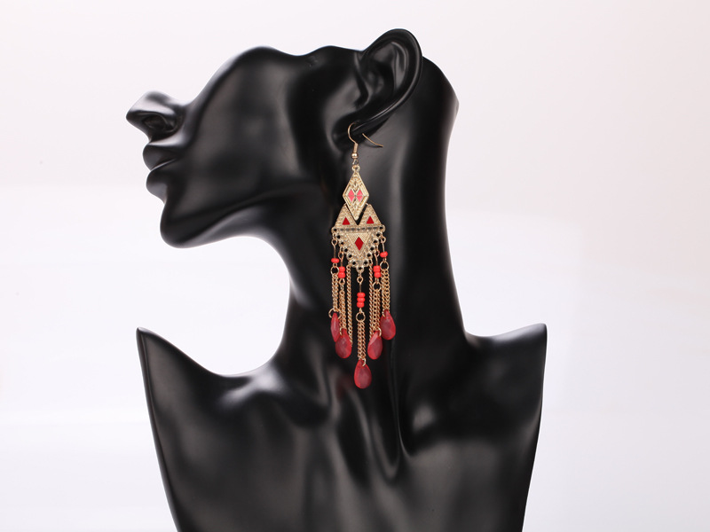 Fashion Bohemian Fringe beaded Tassel Earring For Women Dangle Rhombus Long Drop Earrings Party jewelery RS88