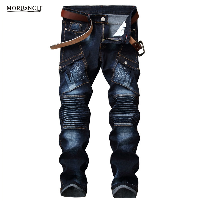 MORUANCLE New Mens Biker Jeans Pants Fashion Cargo Motorcycle Denim Trousers With Multi Pockets Slim Fit Tactical Jeans Stretchy moruancle men s baggy cargo jeans pants loose straight tactical denim trousers for big and tall size 29 46 side zipper pockets