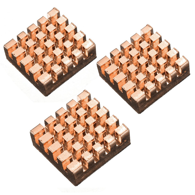 13mm x 12mm x 5mm Self-adhesive Copper Heatsink Thermal Modules Cooling Kit Heatsink For Raspberry Pi Electronics Stocks Modules 5pcs lot pure copper broken groove memory mos radiator fin raspberry pi chip notebook radiator 14 14 4 0mm copper heatsink