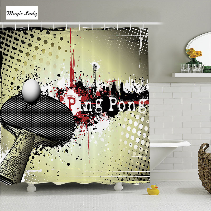 Shower Curtain Game Bathroom Accessories Ping Pong Sports