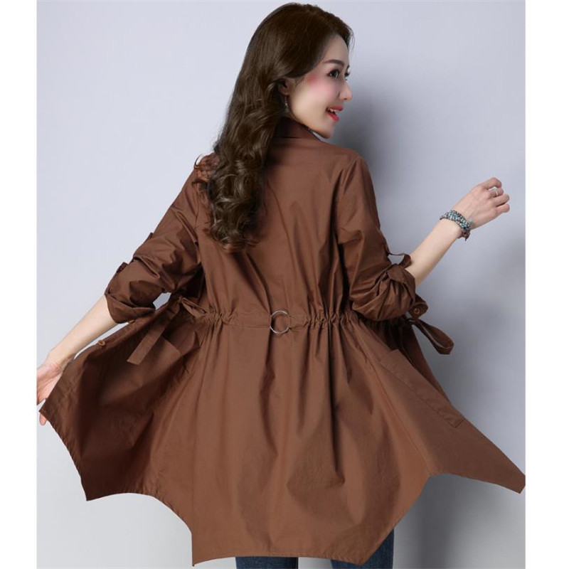 Coréenne Automne caramel Nouvelle 4xl Green Irrégulière La Printemps Dames vent Femmes Coupe Cm2816 Dark Femelle breasted Trench 2018 Taille Single Outwear Plus qPpnw1zx1