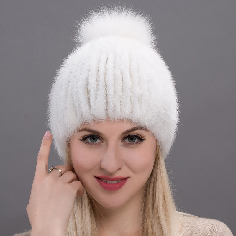Women Beanies Raccoon Fur Pom Poms Hat Beanie Knitted Skullies Fashion Caps Ladies Knit Cap Winter Hats For Women women s cap knitted mink fur hat for women winter warm fashion leather fur headdress beanies russian mom ladies caps