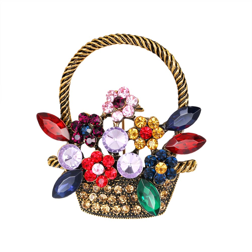 Flower Basket Brooch for Women Full Rhinestone Mix Color Jewelry Vintage Style Cheap Price Vacation dress Pins and Brooches