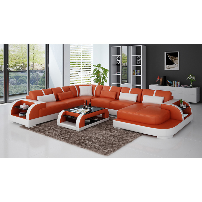 Living Room Sofas Black U-shape Living Room Furniture Sectional Sofa Set G8007 Fancy Colours Furniture