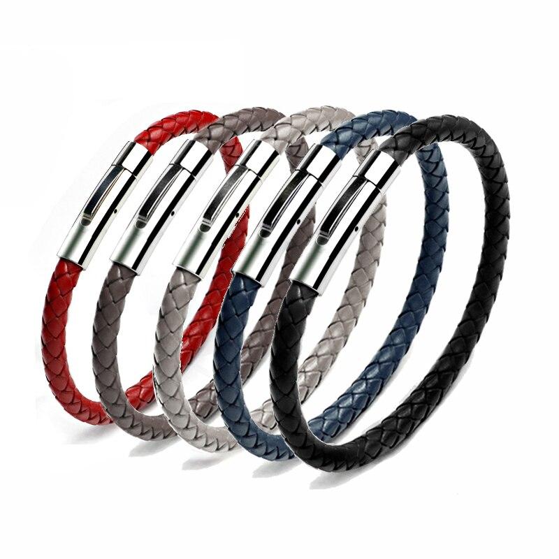 Neue Mode Leder Armband Für Männer Frauen Edelstahl Schmuck Magnetische Schnalle Handgemachte Geflochtene Schwarz Leder Armband 043