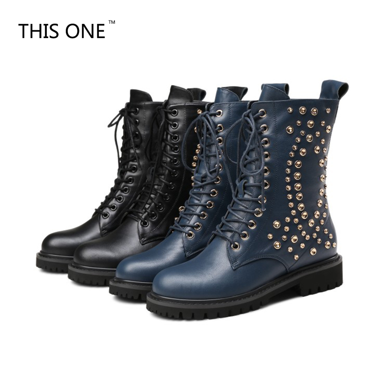 THIS ONE Punk Genuine Leather Boots Women Rivets Square Heels Autumn Winter Ankle Boots Sexy Shoes Woman Motorcycle Snow Boots taoffen genuine leather motorcycle boots biker shoes women suede pointed snow boots brand shoe famous designer woman flats punk