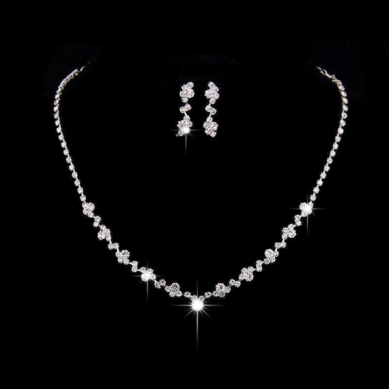 Busana Pernikahan Perhiasan Berkilau Berlian Imitasi Kristal Choker Kalung Anting Set Charm Perak Disepuh Bridal Jewelry Set