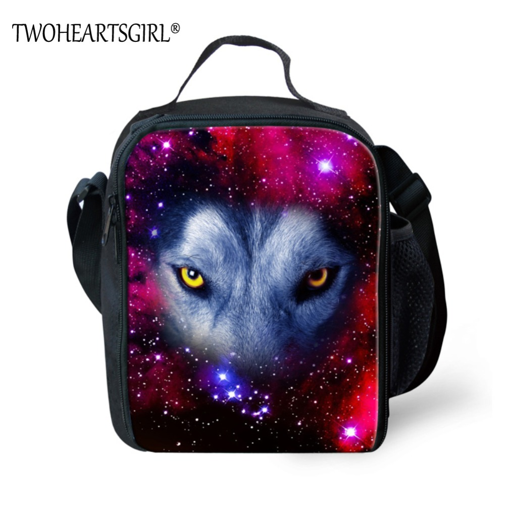 TWOHEARTSGIRL Classic Portable Galaxy Wolf Print Lunch Bag for Kids Insulated Picnic Bag Daily School Students Thermal Lunch Box