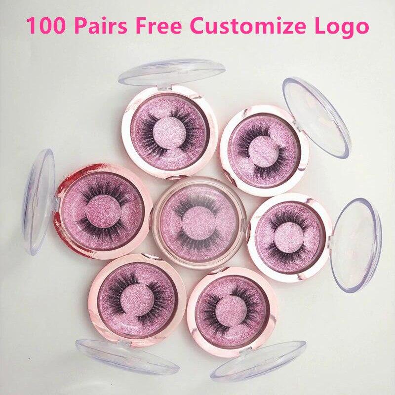 Free Customzie Logo 100Pairs Wholesale Eyelashes Mink False Lashes Handmade Mink 3D Dramatic Lashes 18Styles Free
