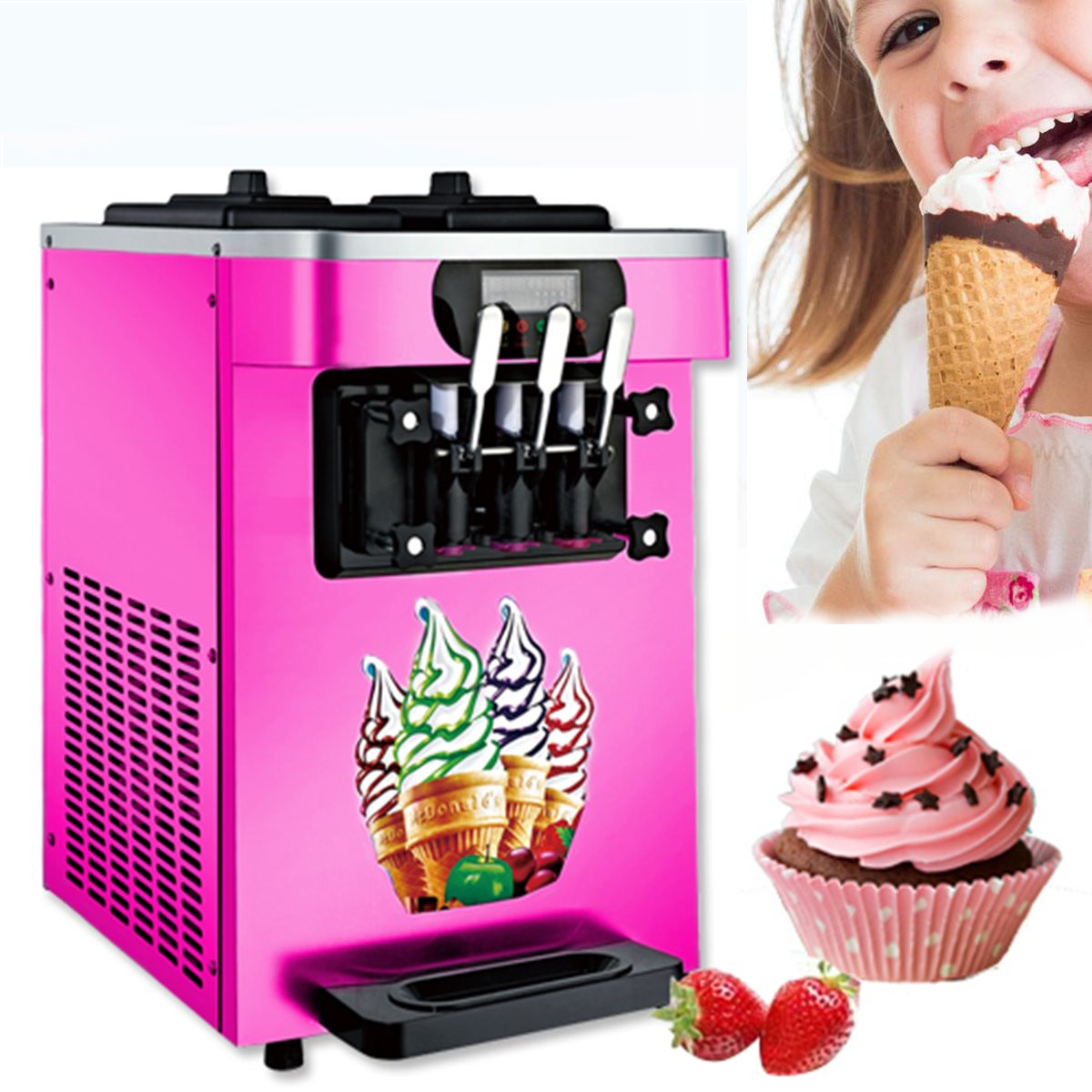 Soft Ice Cream Cones Making Machine Commercial Maker With 3 Flavors Home Shop Diy Ice Cream Maker Kitchen Tools Accessories