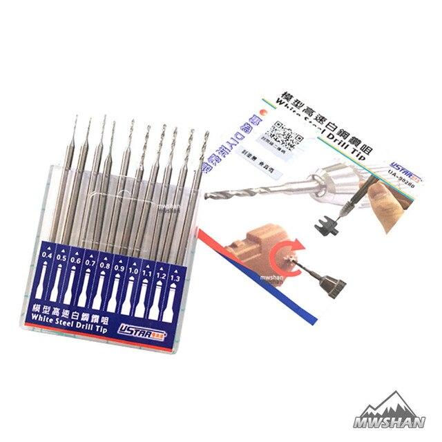 לבן 90280 מודל Ustar תחביב כלי חיתוך סט 10 יח'\סט קצה מקדח פלדה אבזר DIY