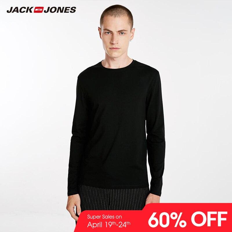JackJones Men's Elastic Cotton&Spandex O-neck Long-sleeved   T  -  shirt   Tops Pajamas Homewear   T     shirt   Fashion Menswear Male 218202501