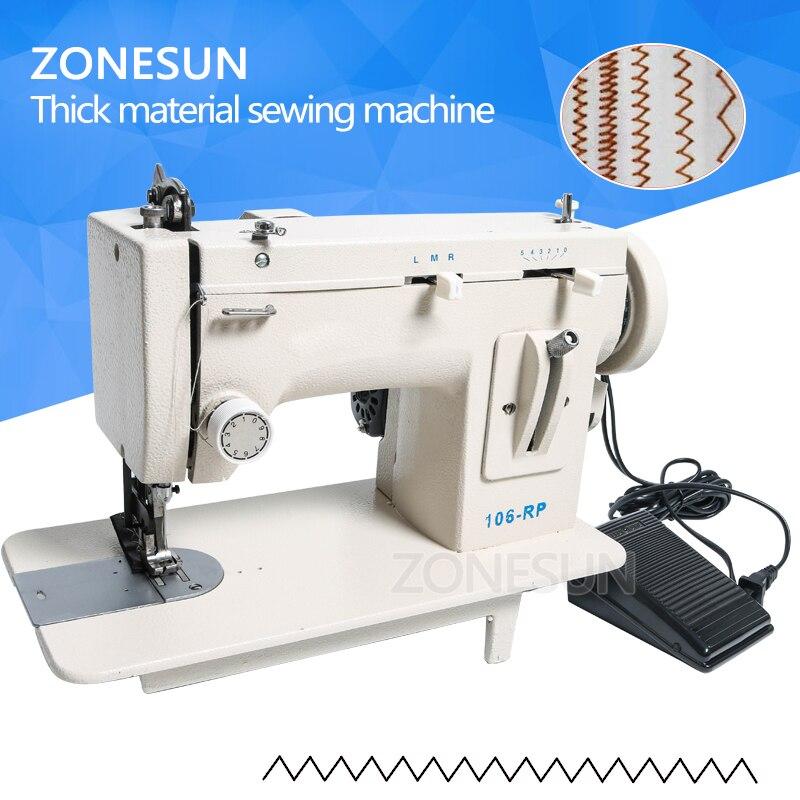 ZONESUN 106 RP бытовой швейной машины Мех Кожа упал одежда толстая Швейные инструмент толщиной материал ткани обратный ZIG ZAG стежка
