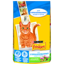 Набор сухой корм Friskies для стерилизованных кошек и котов с кроликом и полезными овощами, Пакет, 1,5 кг x 8 шт.