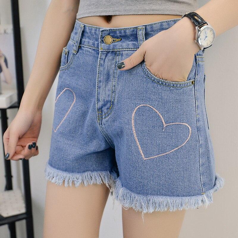 HANZANGL Denim shorts women buttoms Classic all match fringe blue short jeans Casual 2017 summer beach