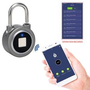 Image 2 - Candado de huella digital Bluetooth, cerradura eléctrica inteligente para puerta, casillero, batería recargable, antirrobo, seguridad para casa (L01)