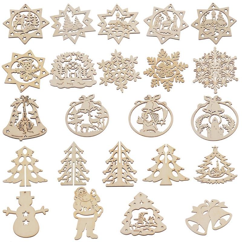 hoomall unids hollow carve flor de madera colgantes de navidad artesana de navidad de madera adornos colgantes d