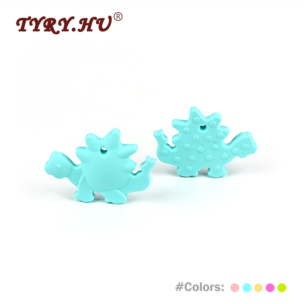 TYRY.HU 1Pc Dinosaur Shaped Silicone Teether Food Grade Baby Teethers Beads BPA Free Baby Chewable Teething Beads Chewed Toys tyry hu 1pc christmas tree shaped baby girl silicone teether rodents beads teething transducer pendant necklace food silicone