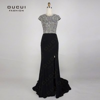 Real Photos Party Open Back Elegant Prom Dress Handmade Full Crystal High Split A Line Long