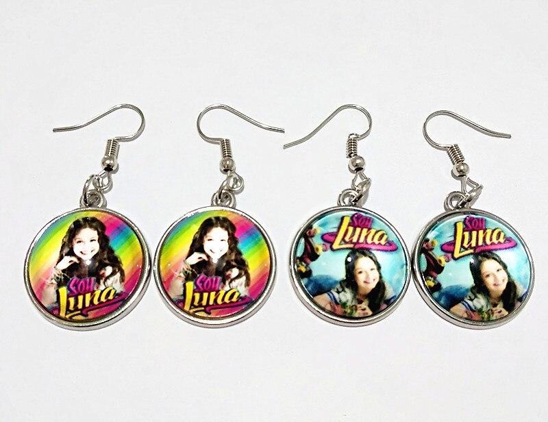 24 par/lote (Misto 8 st earbob Super cantora pop Brincos Luna Luna Elenco de Soja de Soja orelha pingentes de prata queda Brincos