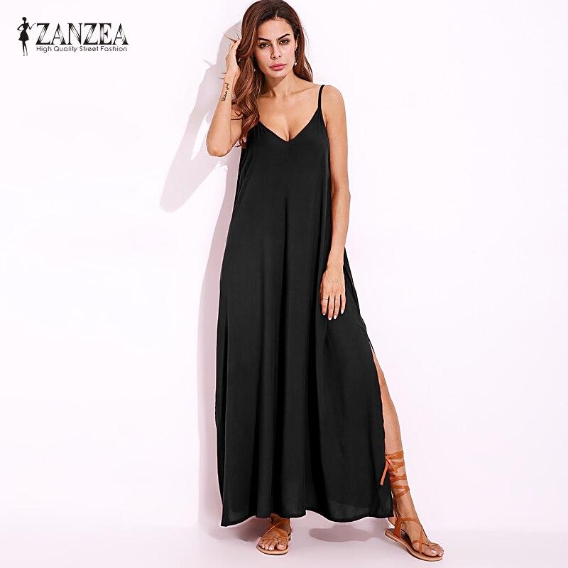 Plus Size S-5XL ZANZEA Women 2018 Summer Slip Dress Sexy Deep V Backless Casual Beach Party Solid Split Long Maxi Dress Vestido