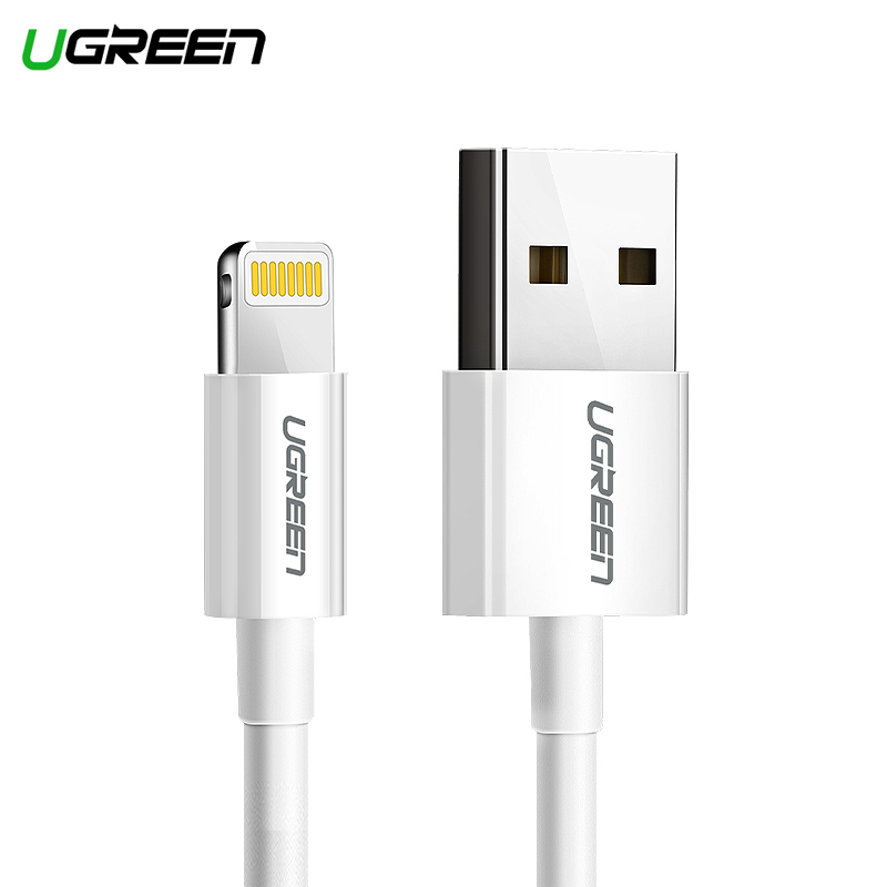 Ugreen Lightning USB Cable for iPhone Xs Max 8 7 6 Plus Fast Charging Data Lightning Cable for iPhone MFi Certified Model 20728 flat usb 2 0 male to micro usb male data sync charging cable orange white 120cm