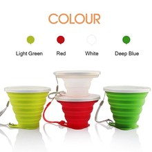 FoldingOutdoor Travel & SPORTSilicone Cup Stainless Steel With Lanyard Cover Lid Outdoor Coffee Cups Retractable Travel