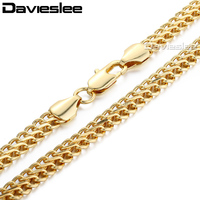 7MM 18K Rose Gold Filled Necklace Double Flat Curb Cuban BISMARK Nekclace Chain Mens Boys Fashion